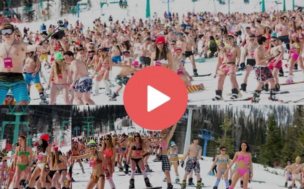 Sibiryada Bikini İle Kayak