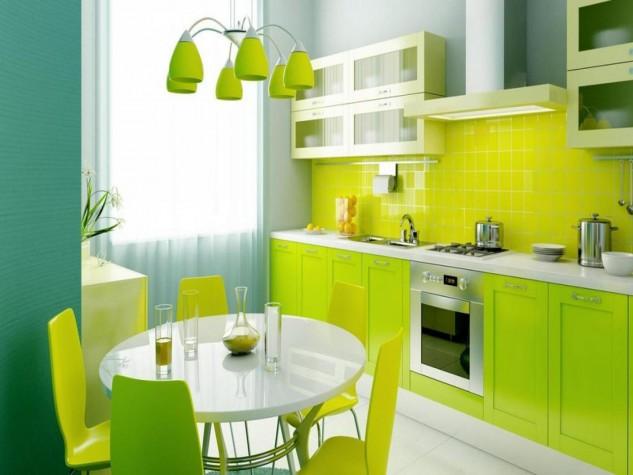 Yeşıl desenlerle mutfak